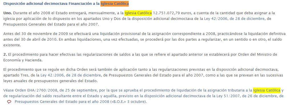 BOE de 2008 : 12.751.072,79 euros mensuales